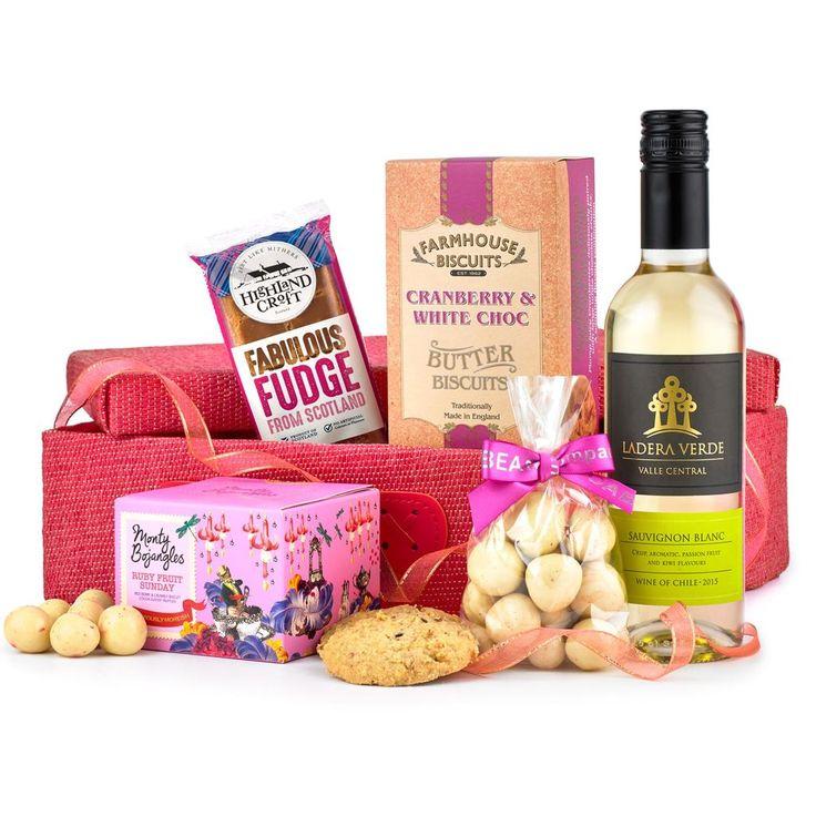 Girl's Night In Wine & Treats Hamper https://harringtons-gift-store.co.uk/collections/hamper-gift-baskets-1/products/girls-night-in-wine-treats-hamper