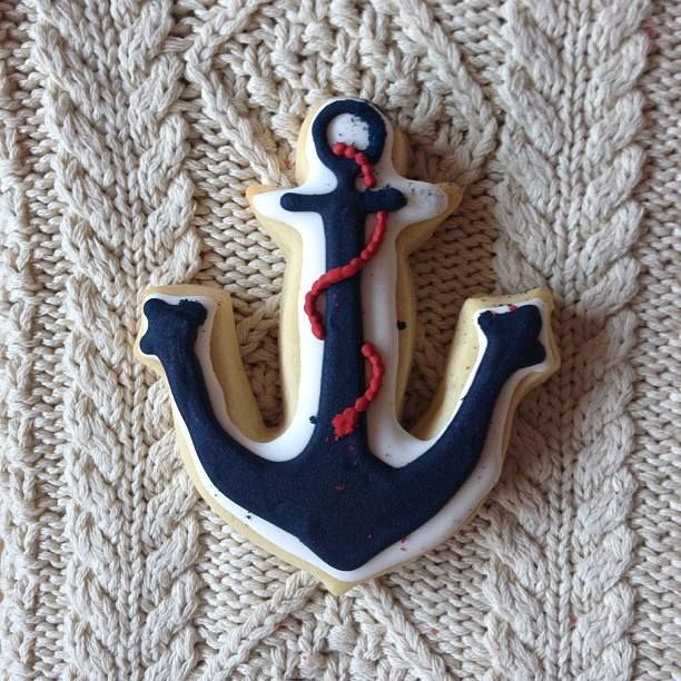 LL Bean Signature sweater and anchor cookies.