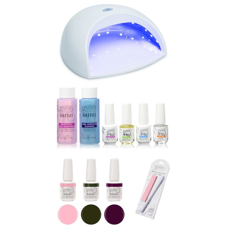 Gelish Harmony Salon Professional Gel LED Nail Polish Pro Lamp Kit + 3 Colors. Light cures all 5 fingers in 45 seconds. Pedicure friendly. Stays on for 3 weeks with no chipping. Uses Gelish patented technology for easy soak off. Soaks off in 10 to 15 minutes.