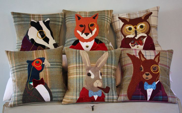 #cushion #tweed #handmade #animal #applique #british #gift #interiors #design #craft