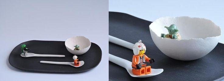 porcelain plate, bowl, spoon