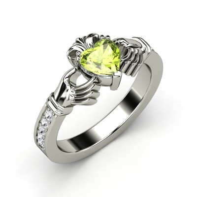 Customizable White Gold Birthstone Rings