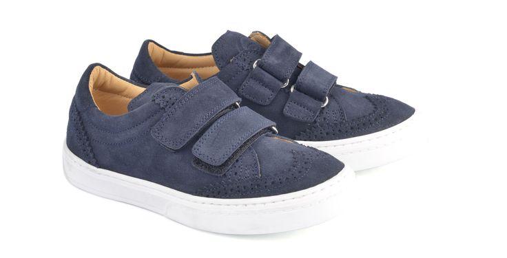 1363/Velour Blue Sneakers in camoscio con strap, suola in gomma. #galluccishoes #kids #shoes #sneakers #camoscio #strap #SS16