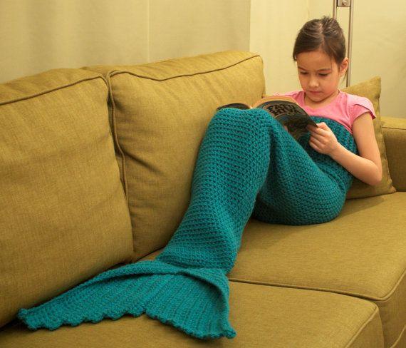 Vente 50 % de réduction sirène queue Lapghan couverture Crochet Pattern pour enfants--fichier PDF--Téléchargement instantané--