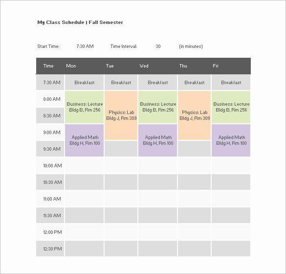 Class Schedule Template Word New College Class Schedule Template 7 Free Word Excel Pdf Class Schedule Template Class Schedule College Schedule Template