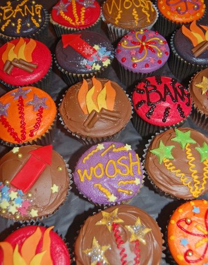 Colourgul Bonfire Night cupcakes by Mrs B's Queen of Cakes