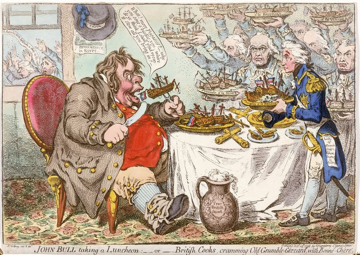 John Bull taking a Luncheon... - James Gillray - Royal Museums Greenwich Prints