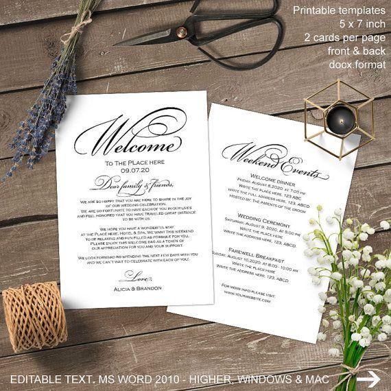 Printable wedding welcome note wedding by MyPrintablePaperie