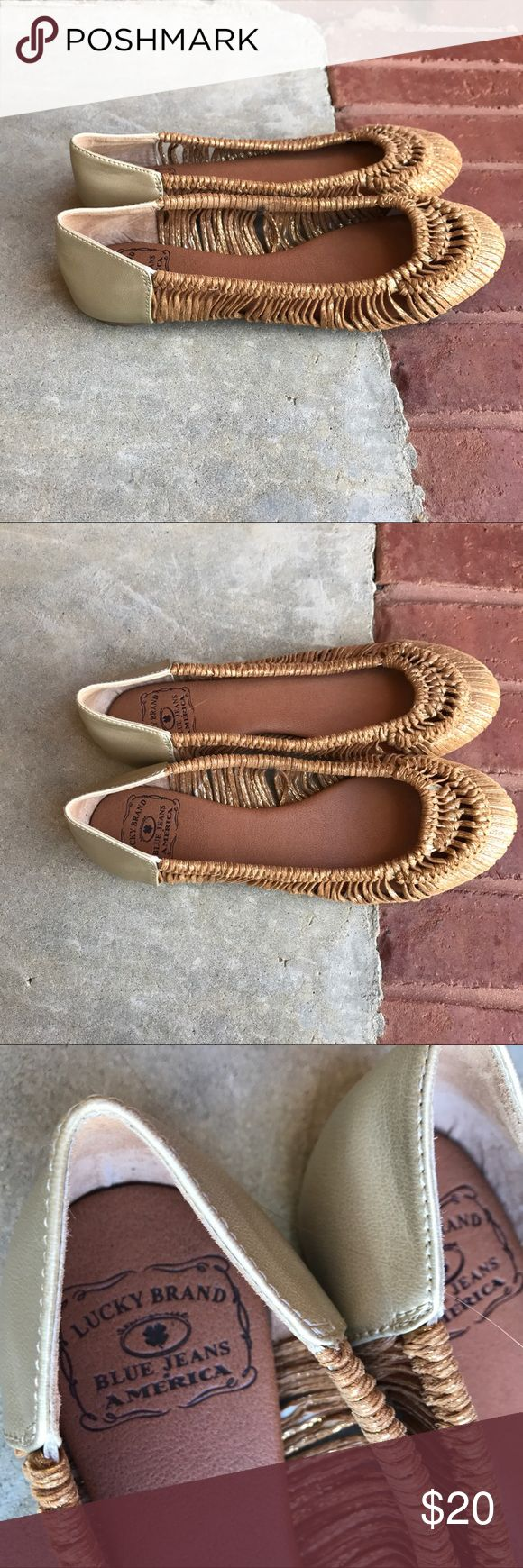 Lucky Brand flats brown and gold Lucky Brand Flats Enza Camel Gold Woven Ballet Shoes slip on Wmns sz 7.5. Worn maybe twice. No major flaws. See photos to guarantee your standards are met. Ask questions Lucky Brand Shoes Flats & Loafers