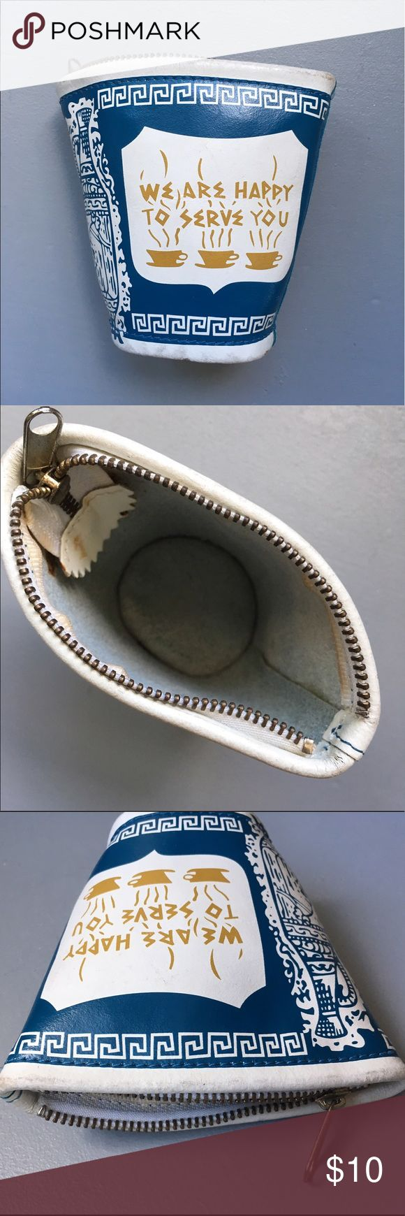 """NYC Coffee Cup Wallet / Change purse Leather changepurse, purchased in Brooklyn NY.  Shows some wear. Some markings inside from glue. Zipper works well. 4"""" high. Lucky Beggar NYC Bags Wallets"""
