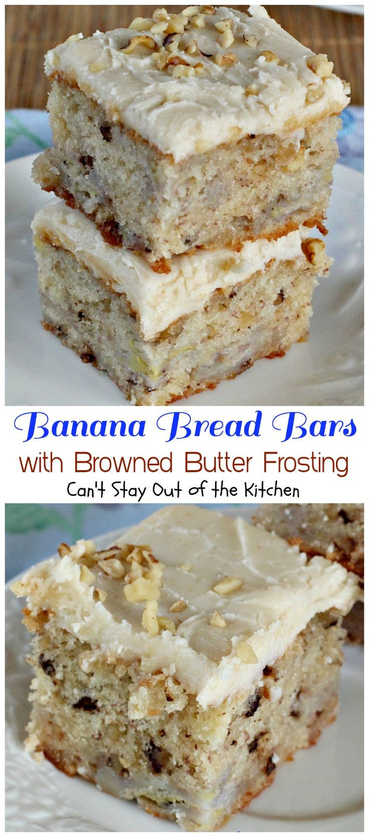 These lovely dessert bars are topped with a fantastic Browned Butter Frosting that's absolutely heavenly. Great way to use up overripe bananas too.
