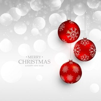 Silver background with red christmas balls