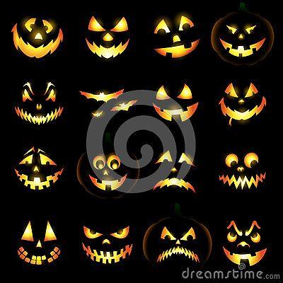Jack o lantern pumpkin faces by Hugolacasse, via Dreamstime