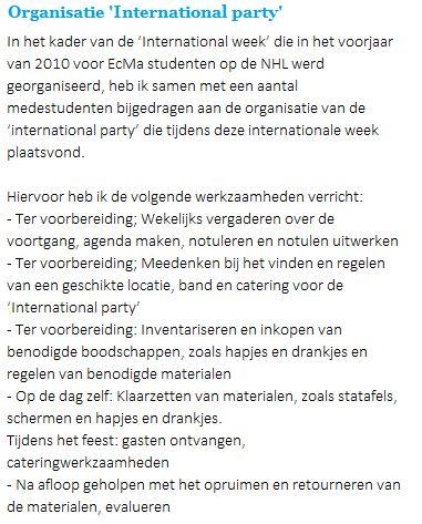 2010: Organisatie 'International party'