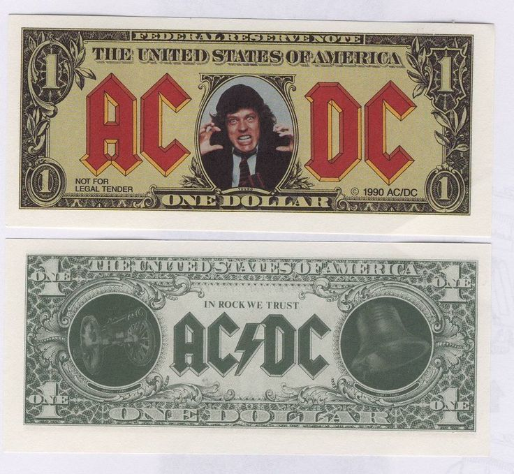 AC/DC Money Talks Promo Fake Dollar Bill Angus Young