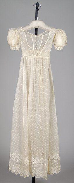 Evening dress Date: 1820–25 Culture: American Medium: Cotton Accession Number: 2009.300.7159