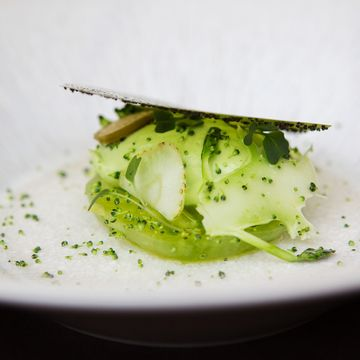 A Recipe by Steve Drake | FOUR Magazine  broccoli, green tomato, green strawberry, caper berry and poppy seeds