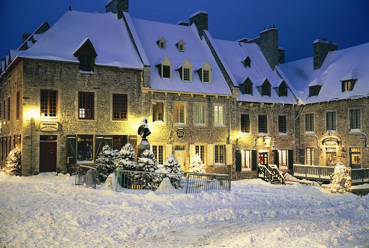 Does it snow in Quebec City?  Yes it does.  Place Royale, Old Quebec, on a winter's eve.