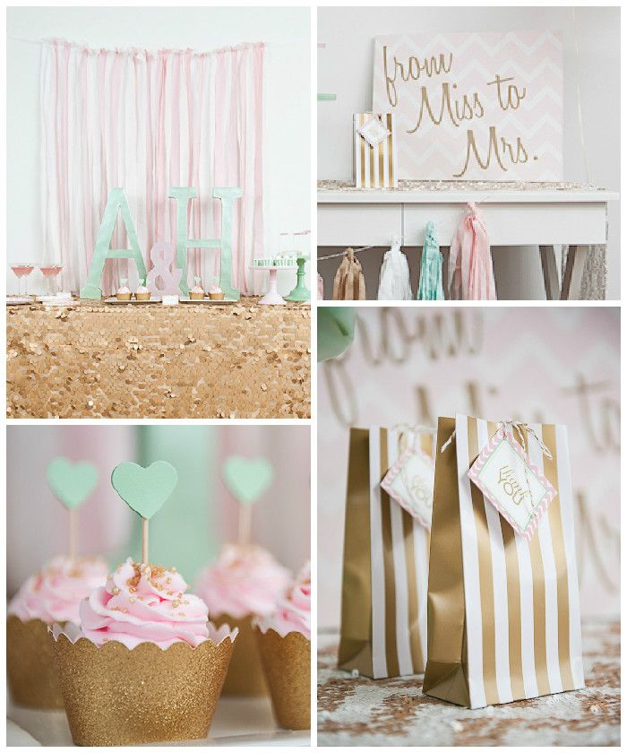 Pink + Mint Glamorous Bridal Shower via Kara's Party Ideas | KarasPartyIdeas.com (1)