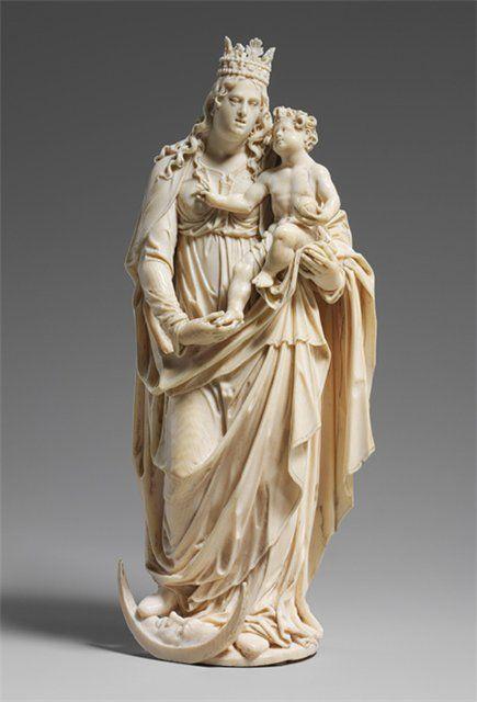 """""""Дева и Дитя"""", конец 16 века, Германия или Нидерланды, слоновая кость."""