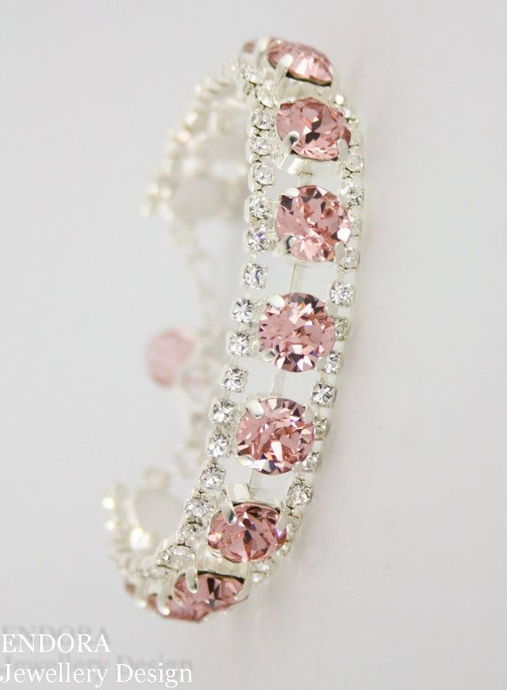 Blush wedding bracelet | blush wedding | blush wedding jewelry | blush bridal bracelet | Swarovski blush | Swarovski Vintage rose | www.endorajewellery.etsy.com