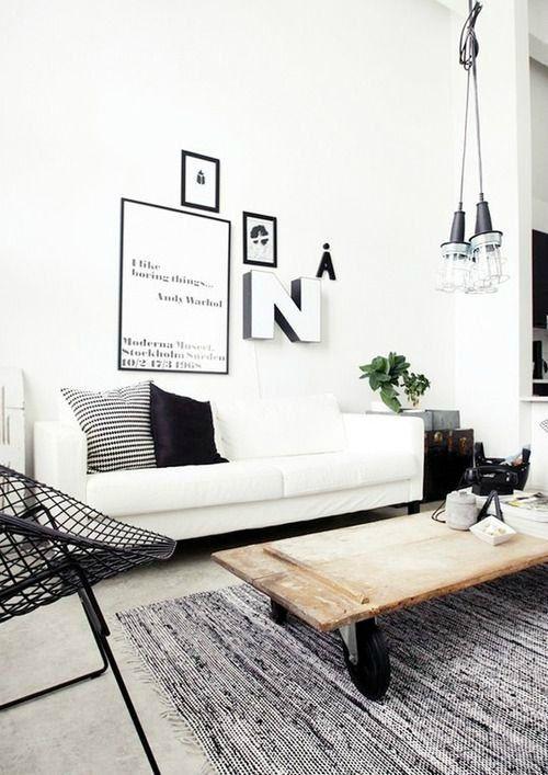 Salones en blanco y negro de estilo nórdico : Inspiración para decorar tu salón en blanco y negro, dos tonos que puedes adaptar a un estilo nórdico, de tendenciaminimalista y moderna,ideal para hogar