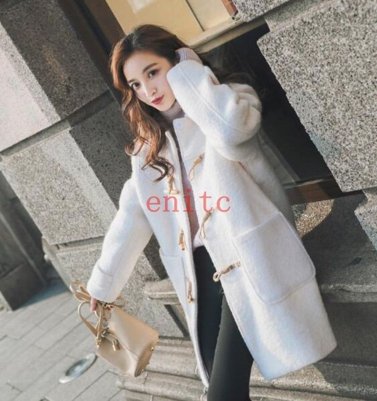 Fashion Horn Button Wool Blend Thick Womens Parka Coat Peacoat Thick Dating
