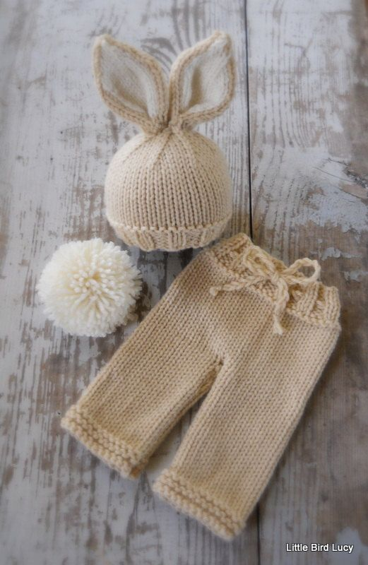 Knit Bunny Hat and Pants Set, Newborn, Baby Knitted Cap, Tan, Cream, Pompom Tail,  Infant Photo Prop, Longies on Etsy, $44.99