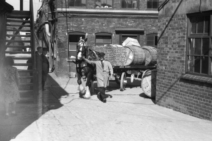 Railway horse transporting hogshead barrels full of ware leaving Spode works