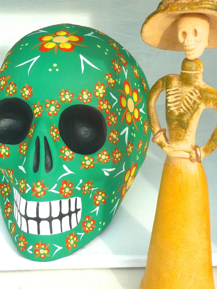 Day of the Dead sugar skull. Handpainted by Mexican artists.
