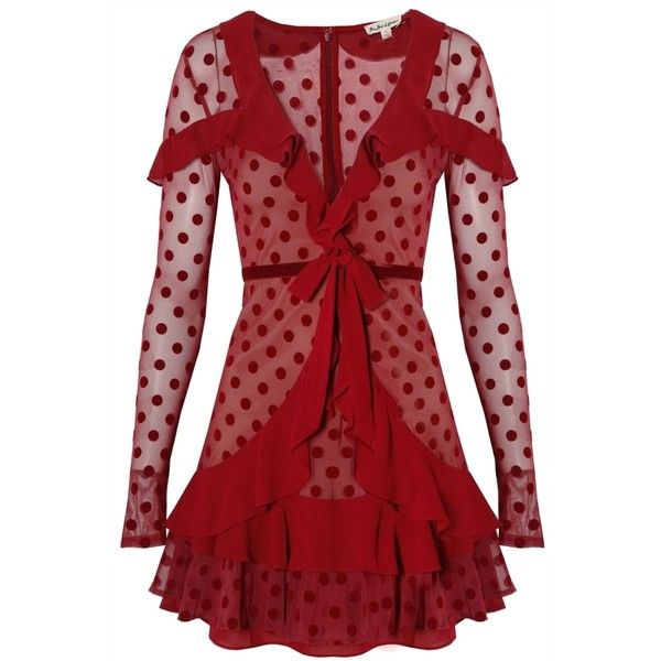 For Love and Lemons Dotty Mini Dress Berry Dot ($415) ❤ liked on Polyvore featuring dresses, red polka dot dresses, polka dot dress, red ruffle dress, red dresses and mini dress