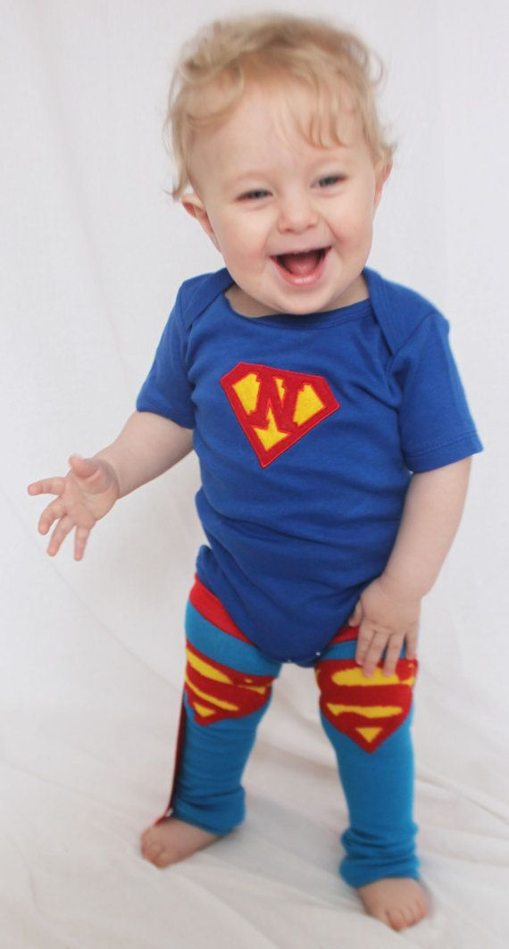 OMG!  I Love this Superman Halloween Costume for Baby or Toddler.  Superman Custom Onesie and Superman Baby Leg Warmers