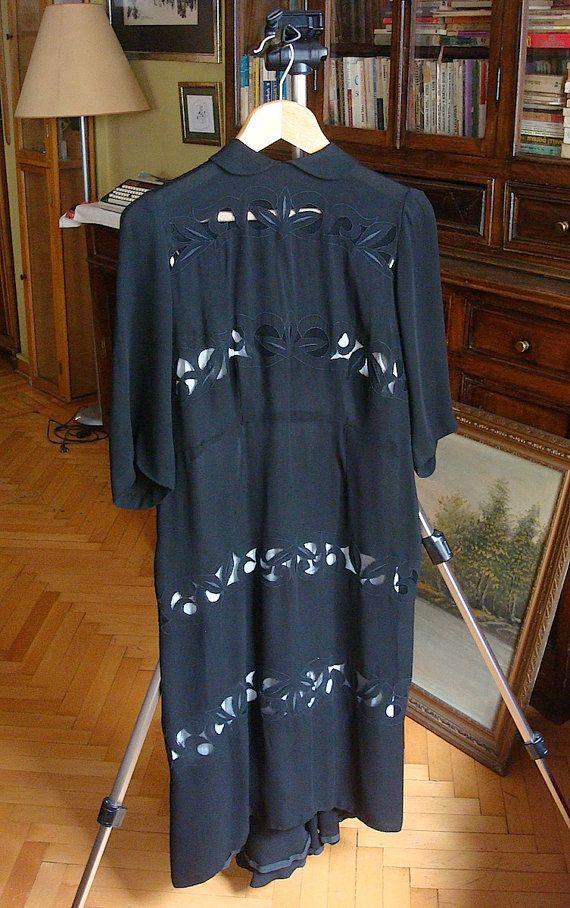 1940s vintage black dress