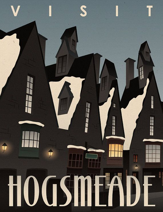 Visit Hogsmeade Travel Poster Harry Potter by 716designs