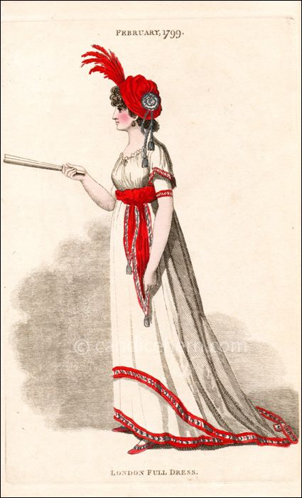 """Full Dress February 1799 Fashions of London and Paris, February 1799. """"London Full Dress"""". This magazine was only the second British publication after the London Gazette."""