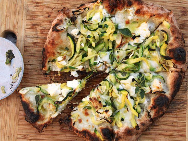 Pizza With Zucchini, Feta, Lemon, and Garlic