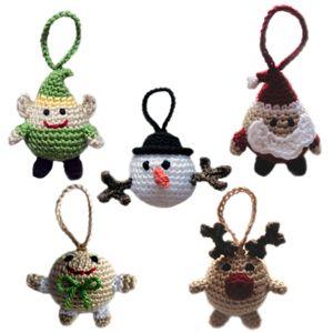 crochet christmas character ball ornaments