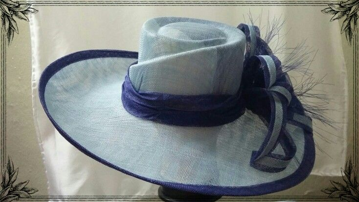 Navy and light blue Sinamay Hat