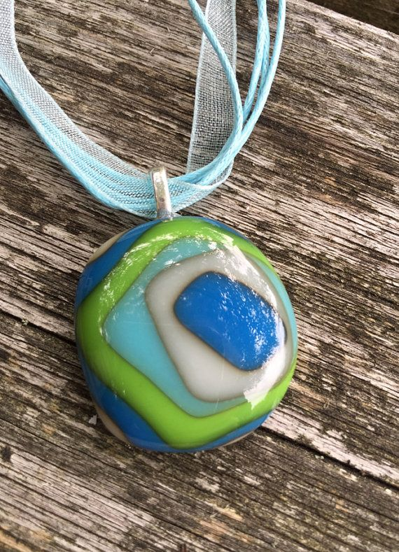 Best 25 fused glass jewelry ideas on pinterest glass jewelry fused glass pendant in shades of blue green and ivory 031 mozeypictures Choice Image