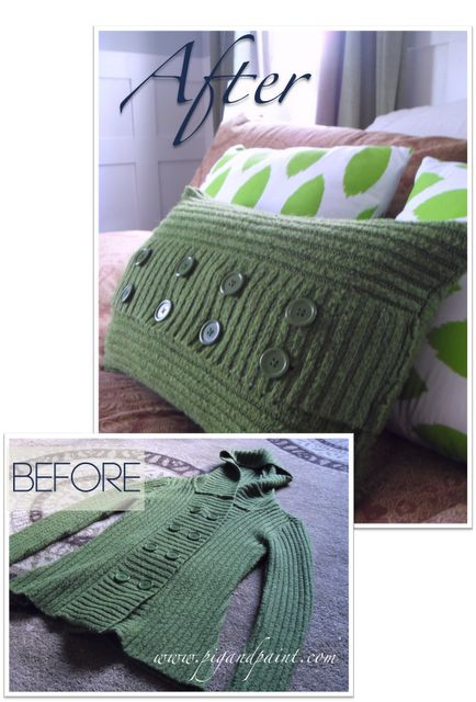 How to turn an old sweater into a pillow cover.