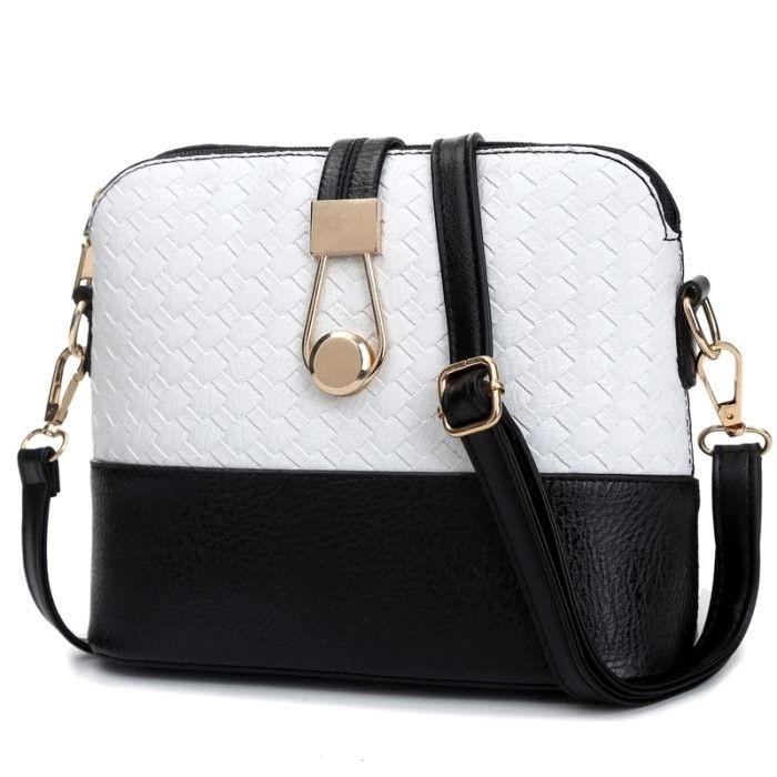 KGS Tas Casual/Formal Wanita Woven Bicolor Sling Bag 1073 - Putih - Int: One size