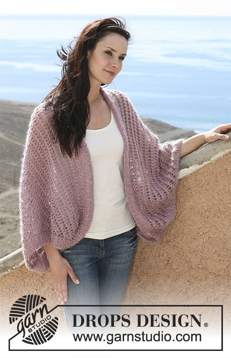 DROPS 107-21 - DROPS shoulder piece in lace pattern in Cotton Viscose and Vivaldi or Baby Alpaca Silk and Brushed Alpaca Silk.   Size S – XXXL