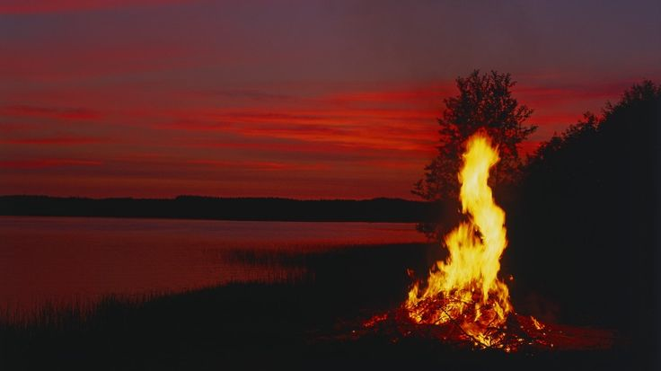 In the old days, bonfires were lit during Midsummer to keep evil spirits away and ensure a good crop come time for harvesting. Midsummer - go peaceful or go party. Finland.
