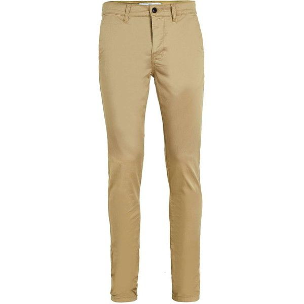 TOPMAN Mustard Stretch Skinny Chino (£25) ❤ liked on Polyvore featuring men's fashion, men's clothing, men's pants, men's casual pants, mens skinny chino pants, mens skinny fit dress pants, mens skinny pants, mens stretch pants and mens chino pants