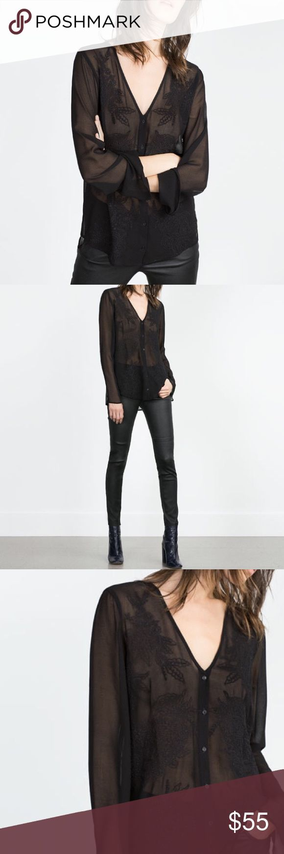 Zara Sheer Black Blouse 75
