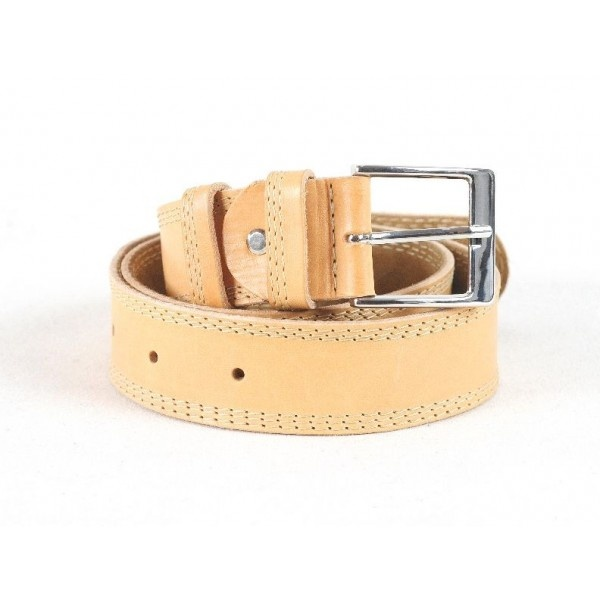 Leather belt with suede lining, three rows of stitching as decoration, 40 mm width.