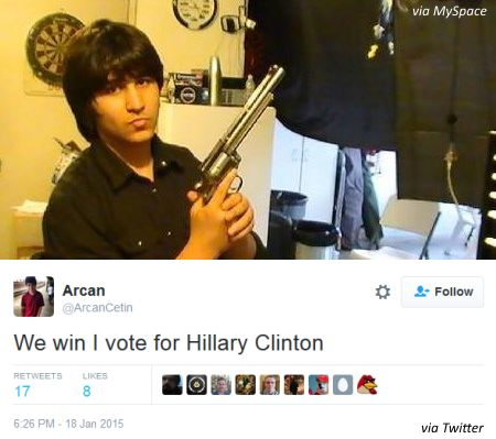 """Cetin voted illegally in the presidential primary earlier this year and on Twitter announced, """"I vote for Hillary Clinton."""""""