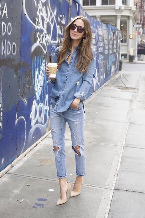 I just do not get tired of denim on denim. I need to wear this with my new nude heels