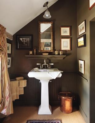beautiful bathroom. love the wall color!