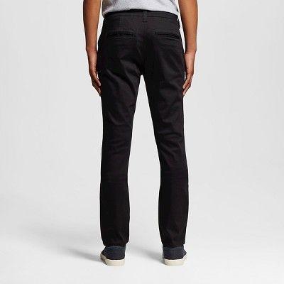 Chor Men's Slim Fit Stretch Tapered Chino Pants - Black 29x32